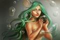 Картинка девушка, улыбка, пузыри, волосы