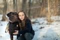 Картинка собака, настроение, девочка