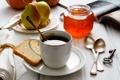 Картинка чай, завтрак, ключ, чашка, книга, фрукты, груши