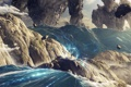 Картинка вода, камни, скалы, человек, поток, desktopography, гиганты