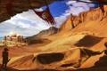 Картинка облака, девушка, пустня, дюны, песок, город, знамя