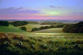 Картинка пейзаж, закат, поляна, вечер, долина, луг, живопись