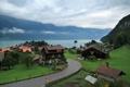 Картинка природа, озеро, дома, Швейцария, красота., Деревенька