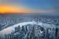 Картинка река, рассвет, дома, горизонт, панорама, Китай, Шанхай