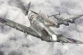 Картинка авиация, истребитель, Messerschmitt, британский, подбитый, Spitfire, Bf.110