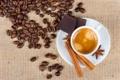 Картинка пена, кофе, напиток, блюдце, зёрна, корица. бадьян