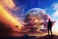Картинка пейзаж, фантастика, небо, девушка, рыжие, красные волосы, ветер