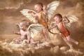 Картинка облака, крылья, лук, стрела, ангелочки, амуры, купидоны