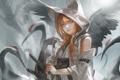 Картинка девушка, птицы, улыбка, оружие, крылья, катана, аниме