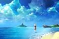 Картинка море, небо, облака, птицы, чайки, аниме, девочка