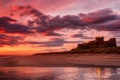 Картинка песок, море, закат, замок, берег