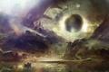 Картинка озеро, лодка, Шар, пещера, руины