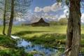 Картинка США, трава, фото, дом, деревья, природа, Grand Teton