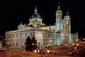 Картинка ночь, огни, площадь, фонари, собор, Испания, дворец