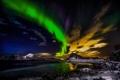 Картинка море, горы, ночь, северное сияние, Норвегия, Лофотенские острова