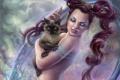 Картинка кот, магия, волосы, корона, арт, когти, принцесса