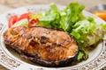 Картинка зелень, овощи, vegetables, greens, запеченная рыба, baked fish