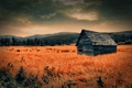 Картинка закат, природа, домик