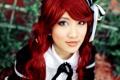 Картинка девушка, волосы, красные, азиатка, линзы