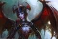 Картинка девушка, глаз, крылья, доспехи, демон, арт, songnan li