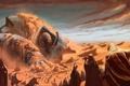 Картинка песок, люди, пустыня, Монстр, поселение, дюны
