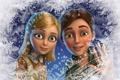 Картинка зима, снег, снежинки, окно, Снежная королева, Кай, Герда