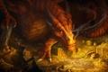 Картинка золото, дракон, дым, арт, хоббит, сокровище, Хоббит: Пустошь Смауга