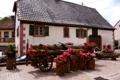Картинка горшки, дом, Oberhaslach, инструменты, бегонии, Франция, цветы