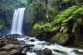 Картинка лес, деревья, природа, река, камни, водопад, джунгли