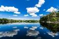 Картинка облака, деревья, отражение, река