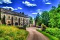 Картинка дорога, трава, деревья, замок, обработка, Великобритания, Chirk Castle
