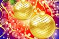 Картинка шарики, огни, праздник, блеск, рождество, серпантин
