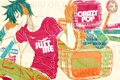 Картинка взгляд, надписи, аниме, наушники, футболка, парень, перчатка