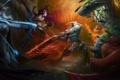 Картинка Drow Ranger, Dota 2, демоница, сражение, арт, Queen, Akasha