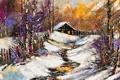 Картинка зима, снег, деревья, забор, домик, Краски