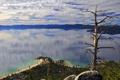Картинка облака, мыс, горизонт, небо, озеро, тахо, дерево