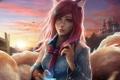 Картинка девушка, лиса, рубашка, ушки, League of Legends, ahri, Nine-Tailed Fox