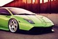Картинка car, зеленая, Lamborghini murcielago, перед