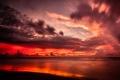 Картинка закат, пейзаж, USA, тучи, океан