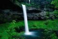 Картинка зелень, вода, скала, водопад, Природа