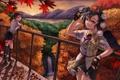 Картинка девочки, осень, опадающие, цвета, листья, деревья, яркие