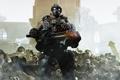 Картинка солдат, трупы, пулемёт, gears of war 3