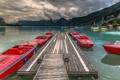 Картинка природа, пристань, горы, озеро, катера, лодки