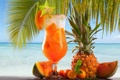 Картинка море, пальма, апельсин, коктейль, ананас, дыня