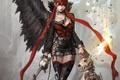 Картинка девушка, оружие, огонь, магия, собака, меч, аниме