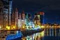 Картинка ночь, город, огни, дома, Польша, канал, речка