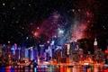 Картинка звезды, ночь, здания, Нью-Йорк, небоскребы