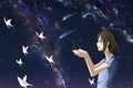 Картинка небо, девушка, звезды, бабочки, северное сияние, аниме, арт