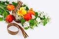 Картинка цветы, 9 мая, ленточка, георгиевская, День Победы, Вечная память героям войны!