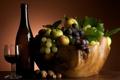 Картинка ягоды, вино, яблоки, бокал, бутылка, виноград, фрукты